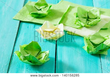Crafts, Paper Flower Water Lily. Copy Space. Paper Napkins And Water Lily On A Wooden Table. Childre