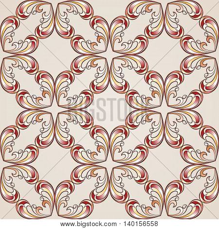 Abstract floral pattern made of cross style elemets in red pink and yellow shades on pastel rose pink background