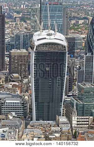 LONDON UNITED KINGDOM - JULY 2 2014: Aerial view of the Walkie Talkie building on 20 Fenchurch Street from the Shard Building.