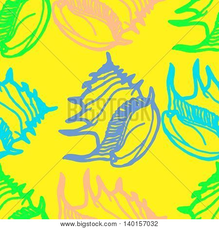 Doodles seashells colorful seamless pattern for background.