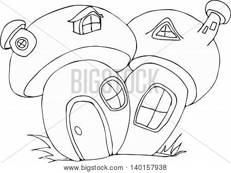 Vector cute fairy tale mushroom house doodle.Vector line illustration.Sketch for postcard, print or coloring adult book.Boho zen art style.