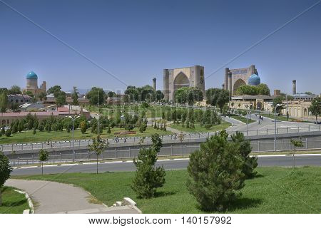 Samarkand Uzbekistan - July 03 2014: Bibi-Khanum monument 1399-1404 years in Samarkand the Grand mosque of Tamerlane richly decorated with tiles carved marble and paintings.