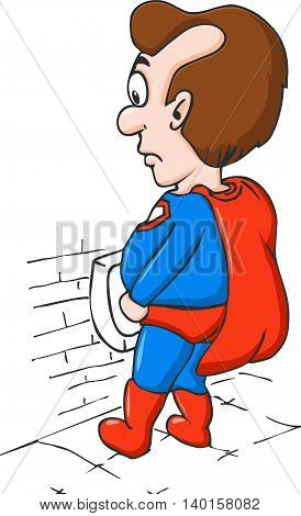 Cartoon Character Chubby Men. Super hero. Vector Illustration.