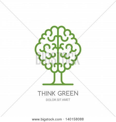 Brain Tree Outline Isolated Illustration. Vector Logo, Icon, Emblem Design.