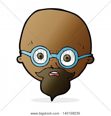 cartoon shocked man with beard
