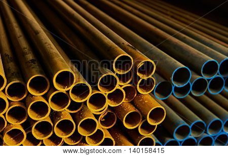 Yellow And Blue Metal Pipes