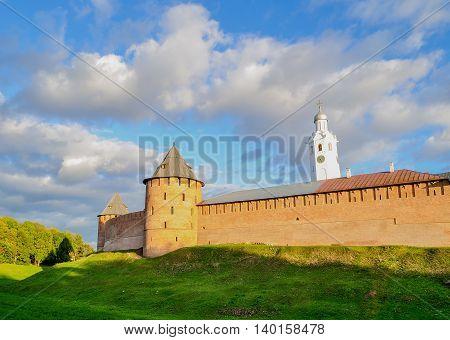 Architecture autumn city landscape - Veliky Novgorod Kremlin on the hill under warm sunset light in Veliky Novgorod Russia