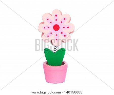 Artificial flower made by wood isolated on white background
