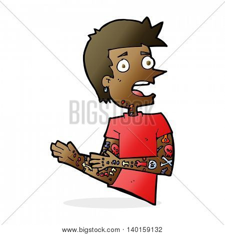 cartoon man with tattoos