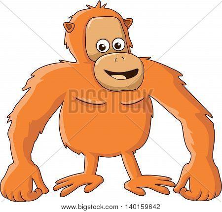 Vector illustration of Cartoon funny orangutan isolated on white background