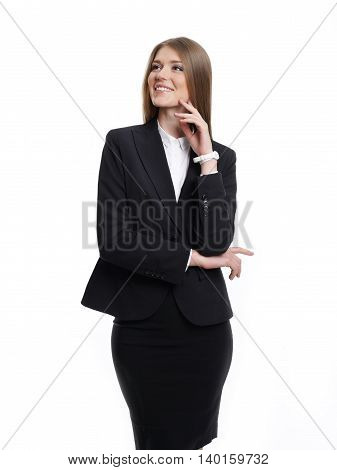 Business woman portrait in a suit looking to the side.