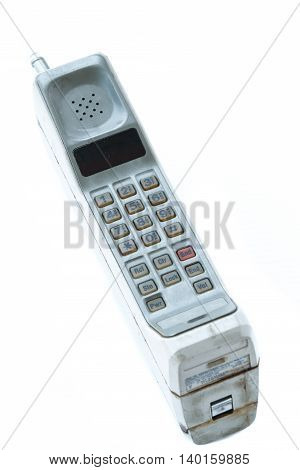 vintage mobile phone Isolated on white background.