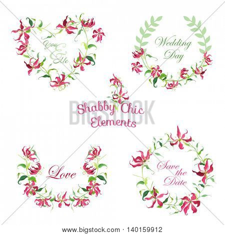 Tropical Flower Banners and Tags - for your design and scrapbook - in vector
