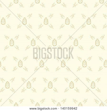 Spica wheat seamless pattern. Vector illustration for organic farming growing food brewery and bakery.
