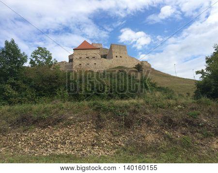 Romania, August 21, 2015, Rupea Fortress, Transylvania, Brasov County, View over the fortress on the hill