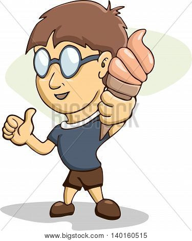 Boy with ice cream. Funny vector and cartoon isolated characters.