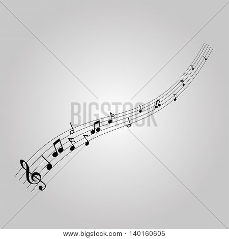 Musical notes with the G-clef, vector illustration