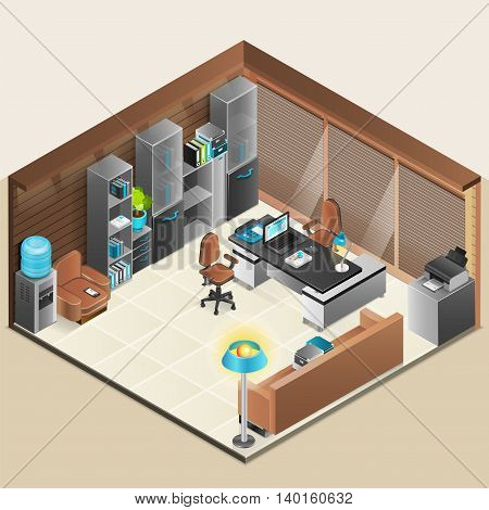 Office room isomenric design with sofa armchair and laptop vector illustration