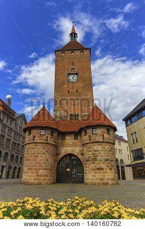 The white tower, Weisser Turm, in Nuremberg by day, Bavaria, Germany