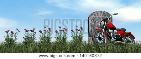 Motorcyclist tombstone by cloudy day - 3D render