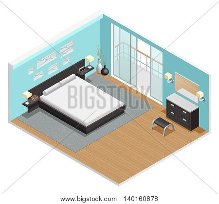 Bedroom interior isometric view  with king size bed nightstand  carpet and balcony sliding doors  abstract vector illustration