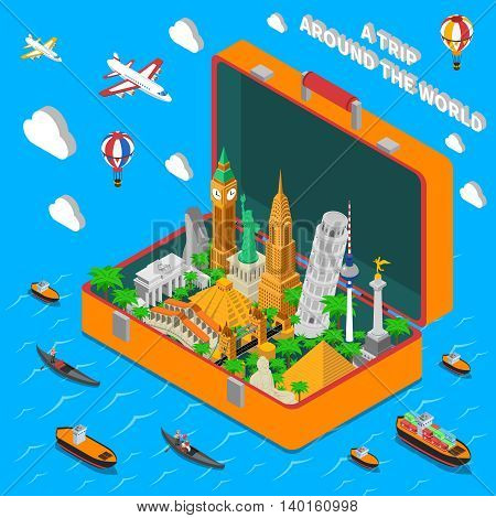 World famous landmarks in vintage travel suitcase isometric  advertisement poster with means of transportation abstract vector illustration