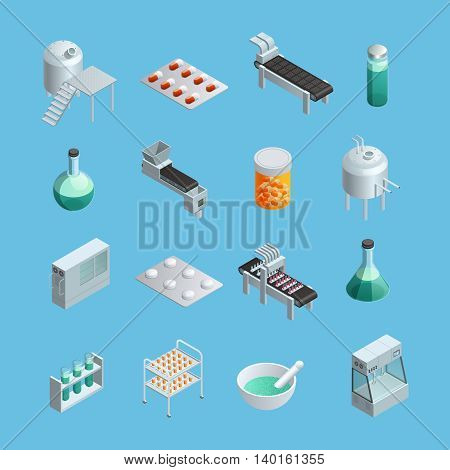 Isometric icons set of different pharmaceutical production elements from equipments to end-product isolated vector illustrations