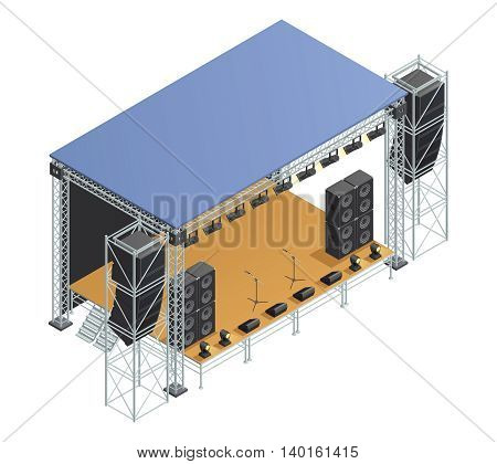 Poster with isometric image of stage metallic construction with speakers microphones spotlights and other elements vector illustration