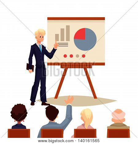 Businessman giving presentation with a board, sketch style vector illustration isolated on white background. Confident male manager and flip chart with pie graph presenting chart to group of people