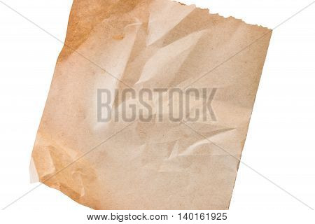 sheet of old paper isolated on a white background