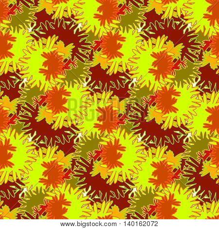 Autumn seamless pattern with red, orange and brown leaves.