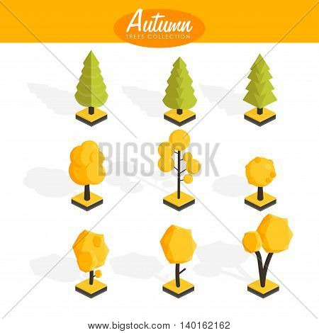 Isometric Autumn trees set. Low poly Vector illustration