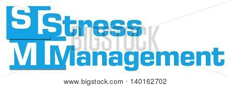 Stress management text written over blue background.