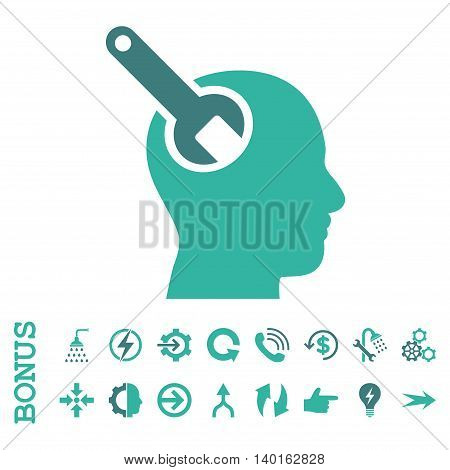 Brain Tool vector bicolor icon. Image style is a flat pictogram symbol, cobalt and cyan colors, white background.