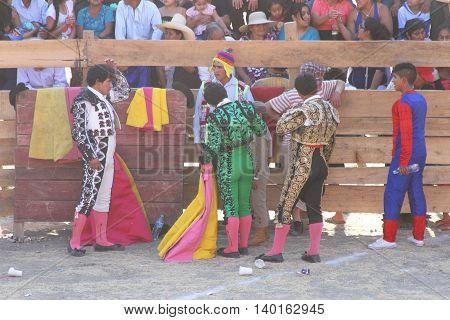 Magdalena Cajamarca Peru - July 23 2016: Matadors wait for bullfight to begin in Magdalena Cajamarca Peru on July 23 2016