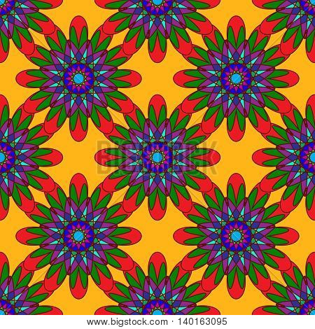 Geometric seamless pattern with fractal flower in blue and red colors on orange background.