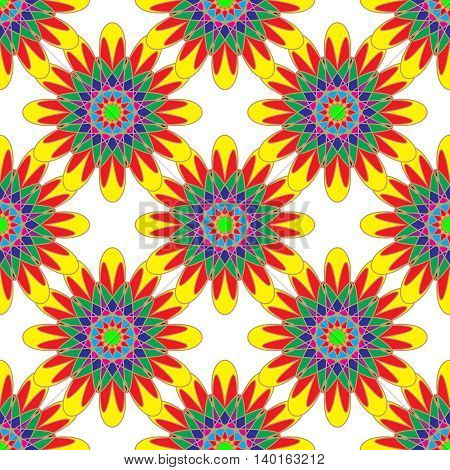 Geometric seamless pattern with fractal flower in yellow red and green colors on white background.