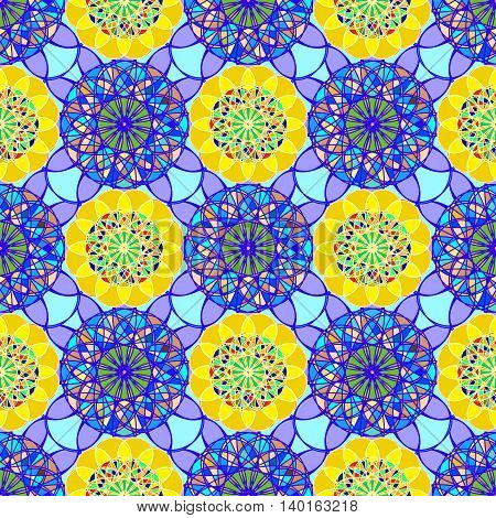 Beautiful new coloful stained glass kaleidoscope on a background of leaves seamless pattern for new design.