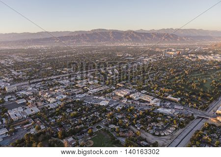 Los Angeles, California, USA - July 21, 2016:  Late afternoon aerial view towards Lankershim Blvd at Cahuenga Blvd in the San Fernando Valley.