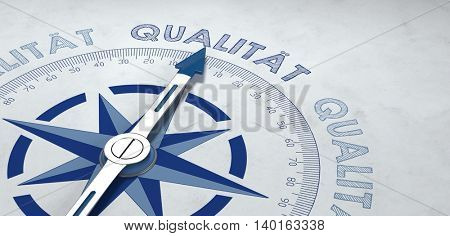 3d render of compass with metal pointer surrounded by German word for high quality and copy space