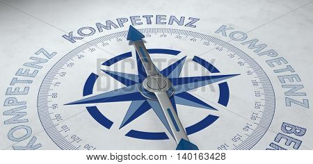 3d render close up of compass pointing to German text for Kompetenz (competence) and highly skilled endeavors