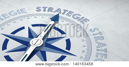 Concept about plans with 3d rendered German compass pointed at the word strategie as symbol for planning and campaigns