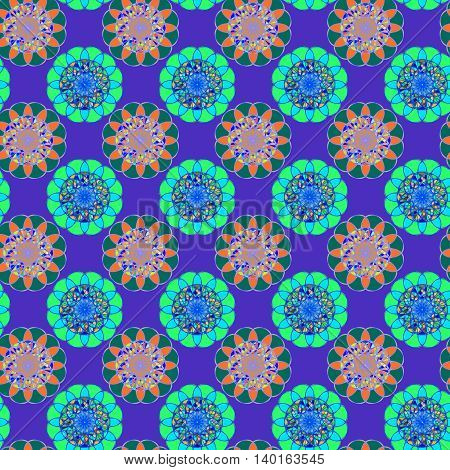 Amazing coloful stained glass kaleidoscope on a background of leaves seamless pattern for new design.