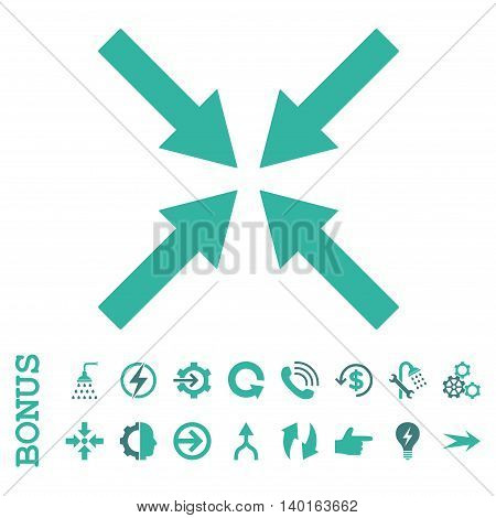 Center Arrows vector bicolor icon. Image style is a flat pictogram symbol, cobalt and cyan colors, white background.