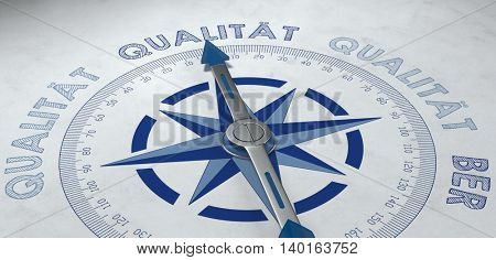 3d render of compass with metal pointer surrounded by German word for high quality