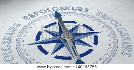 Symbolic marketing 3D render of compass pointing to German word erfolgskurs, which stands for being on the path of success