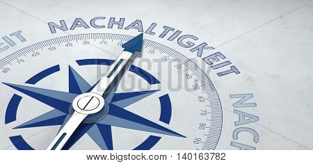 3d render of gray and blue compass pointing to nachaltigkeit, or German word for sustainability