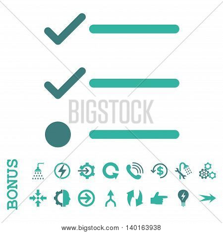 Checklist vector bicolor icon. Image style is a flat iconic symbol, cobalt and cyan colors, white background.