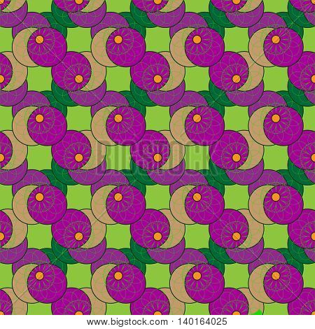 Geometric seamless pattern with fractal flower in green and purple colors on light green background.