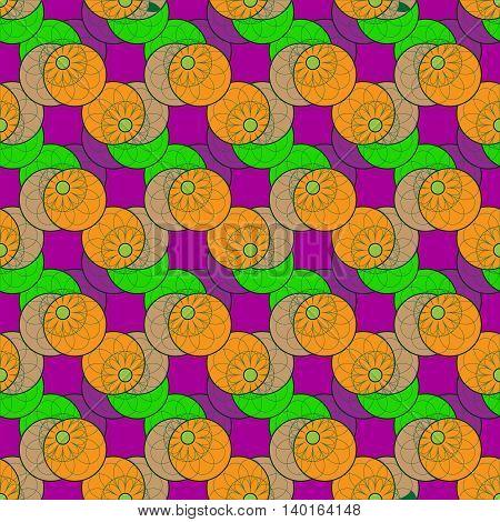 Fractal flower seamless pattern on circle background.